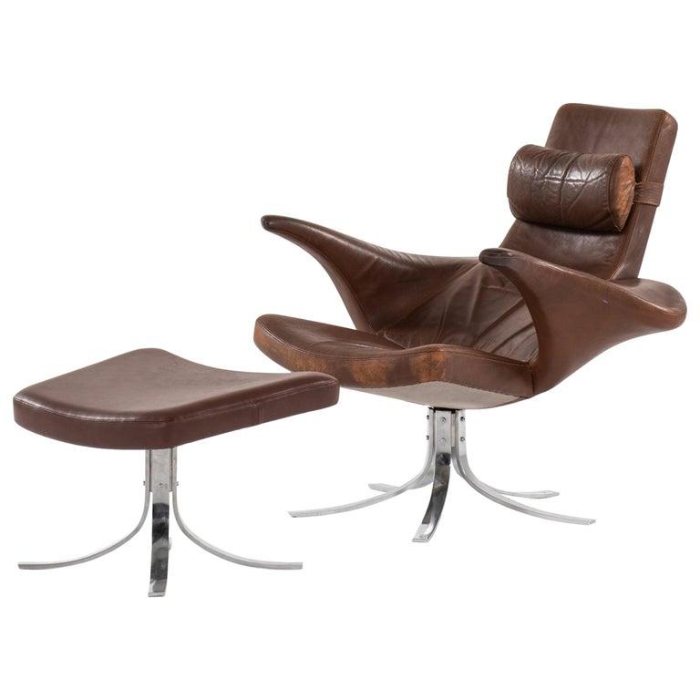Gösta Berg Easy Chair with Stool Model Måsen / Seagull by Fritz Hansen For Sale