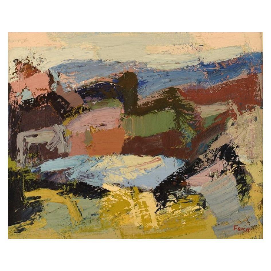 Gösta Falck Sweden, Oil on Canvas, Abstract Landscape, 1960s
