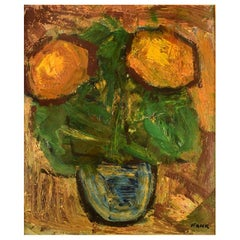 Gösta Falck Sweden, Oil on Canvas, Modernist Still Life with Flowers