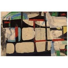 Gösta Fougstedt, Sweden, Oil on Canvas, Modernist Composition, 1965