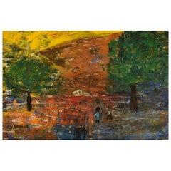 Göta Fogler, Sweden, Oil on Canvas, Abstract Landscape, 1960's