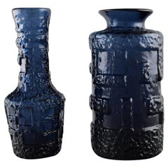 Göte Augustsson for Ruda, Two Vases in Blue Mouth Blown Art Glass