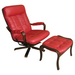 Göte Möbel Swivel Armchair with Footrest, Sweden, 1970s, 2 Sets Available