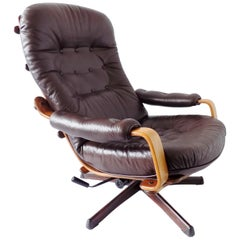 Göte Möbler Lounge Chair , Swedish Design, Mid-Century modern, Swivel, Leather