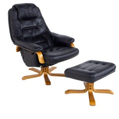 Gote Mobler Mid Century Swedish Black Leather Swivel Lounge Chair and Ottoman