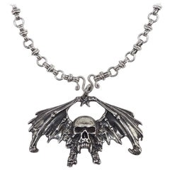 Goth Sterling Silver Necklace, Sterling Silver Link Chain With Winged Skull.