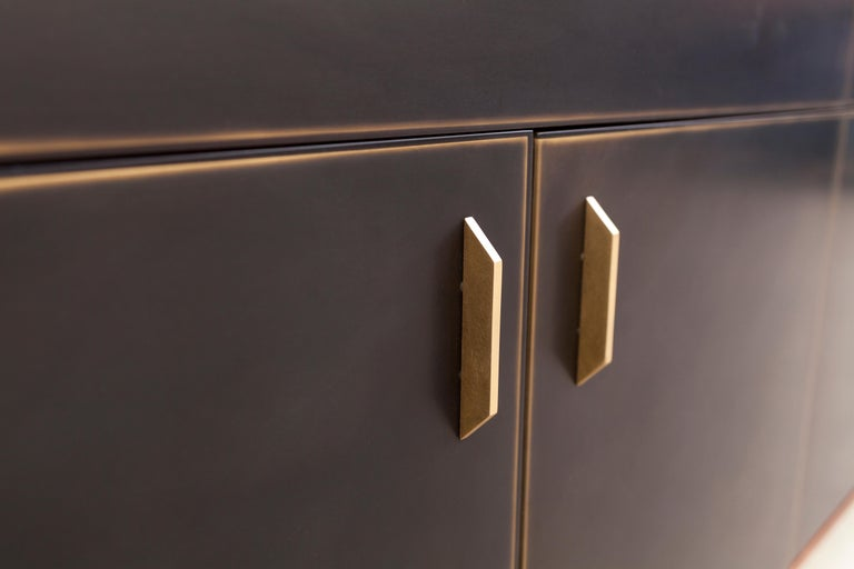 American Gotham Credenza, Customizable Wood, Metal and Resin For Sale