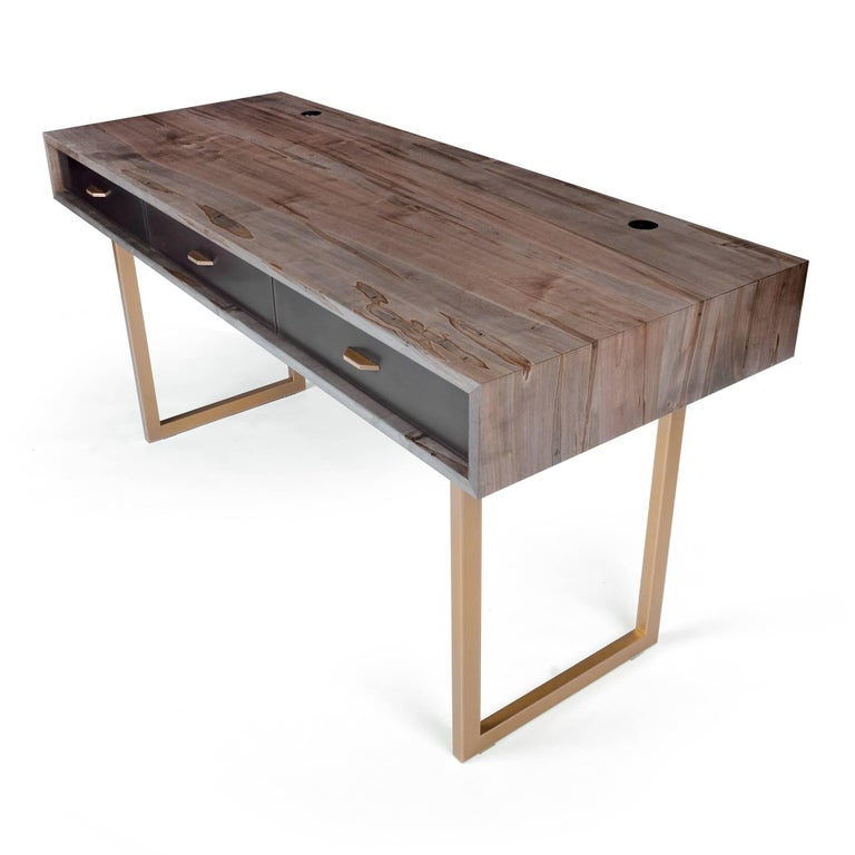 Modern Gotham Desk Customizable Wood, Metal and Resin For Sale