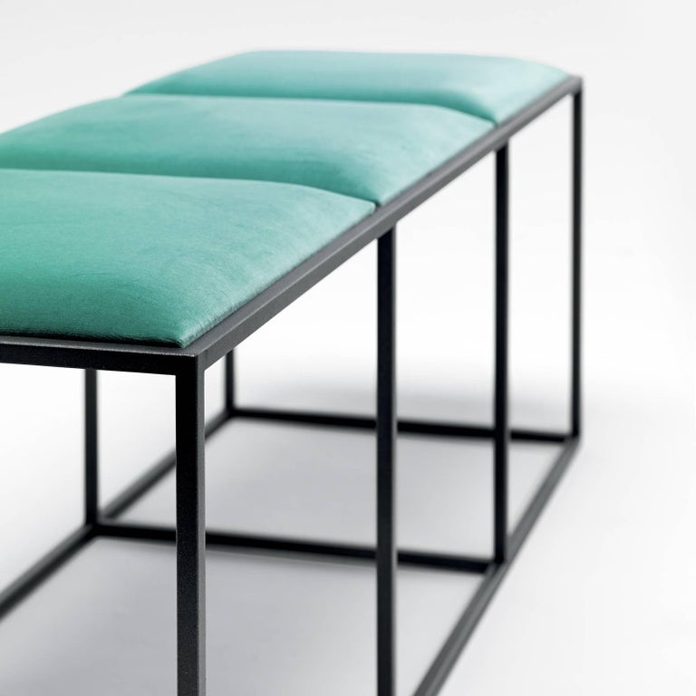 A stylish combination of natural and industrial materials, this handmade bench designed by Federico Carandini, 2018, captures the essence of Eponimo's philosophy of crafting captivating pieces between the minimal and the opulent. This compact design