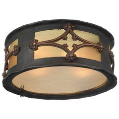 Gothic Iron and Brass Frosted Amber Glass Flushmounts