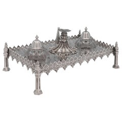 Gothic Antique Sterling Silver Ink Stand by Joseph Angell & Son, London, 1893