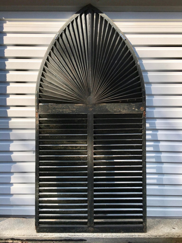 19th Century Gothic Arch Window Shutter For Sale