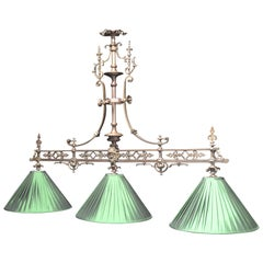 Gothic Billiard Snooker Pool Lamp Light Brass English Victorian, 1890