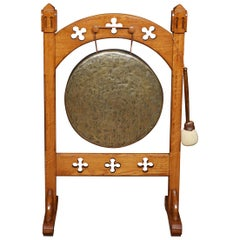 Gothic Brass and Oak Dinner Gong