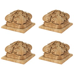 Gothic Carved Newel Post Topper 'Set of 4', Wooden Stair Parts