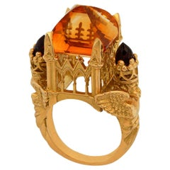 Gothic Cathedral Ring in 18 Karat Yellow Gold, Citrine and Garnets