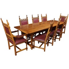Gothic Design Oak Refectory Table and Eight Chairs