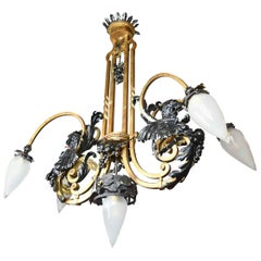 Gothic Dragon Chandelier with Teardrop Shades