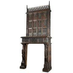 GOTHIC Fireplace  Fine, Large and Stately,  Oak