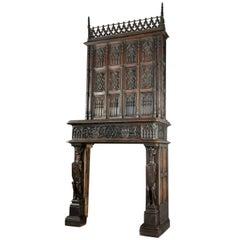 Gothic Fireplace  Fine, Large and Stately Oak