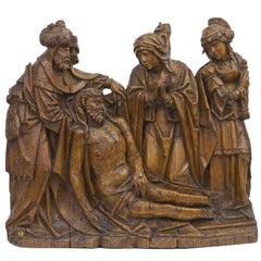 Gothic Flemish Oak Altarpiece of the Lamentation of Christ