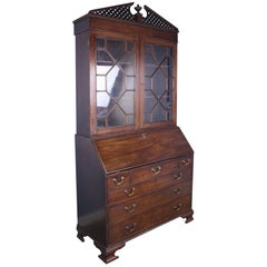 Gothic Mahogany Secretaire and Bookcase, Original Glass
