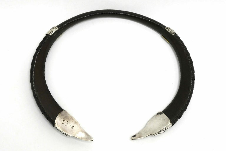 Gothic Medieval Silver Ostrich Claw Choker Necklace Leather Exotic BDSM Original In New Condition For Sale In Santa Barbara, CA