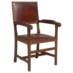 Gothic Oak and Leather Armchair, England, circa 1860