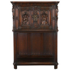 Gothic Oak Cabinet by Karcher & Rehn Company, 1920s