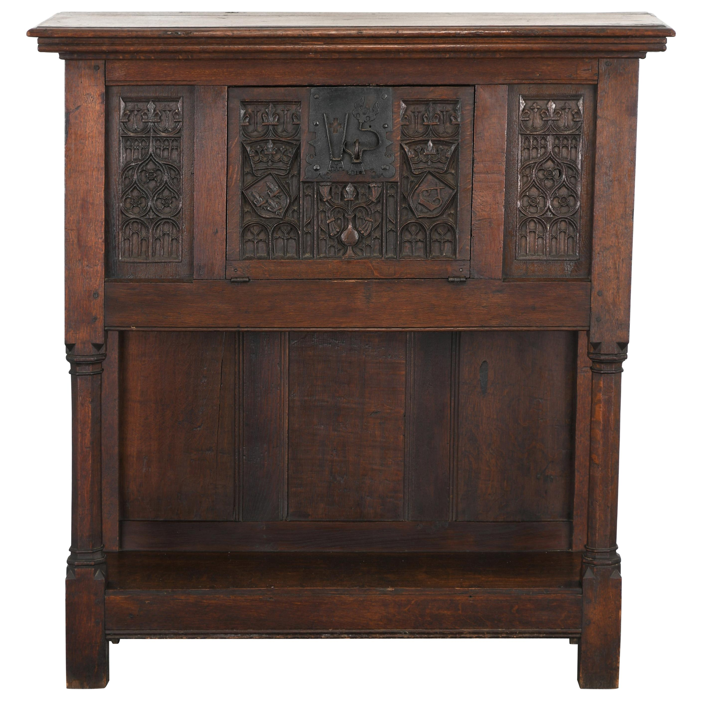 Gothic Oak Cabinet, Late 19th-20th Century