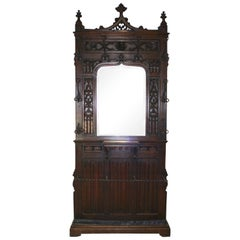 Gothic Oak Hall Stand with Mirror, circa 1895