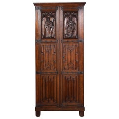 Gothic Oak Two-Door Cupboard