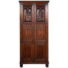 Gothic Oak Two-Door Cupboard