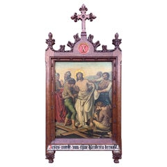 Gothic Painting / Tenth Station Crucifixion 'Jesus is stripped of His garments'