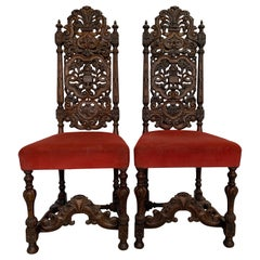 Gothic Pair of 19th Century Carved Oak Chairs