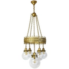 Gothic Pendant Fixture with Decorative Ring and Original Glass