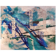 Gothic Portals, 2020, Abstract Architecture Mixed-Media Painting, Blue, Green