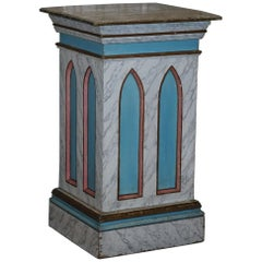 Gothic Pugin Vintage Faux Marble Painted Large Pedestal Plinth for Marble Bust