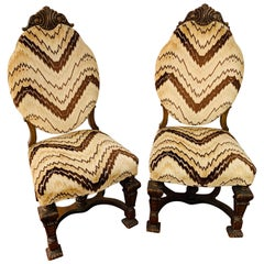 Gothic Renaissance Style Oak Side Chair, a Pair