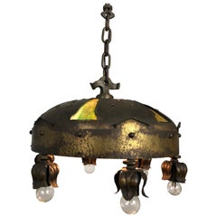 Gothic Revival Arts & Crafts Handwrought and Hammered Fixture