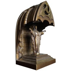 Gothic Revival Bronze & Cathedral Glass Chapel Table Lamp with Christ Sculpture