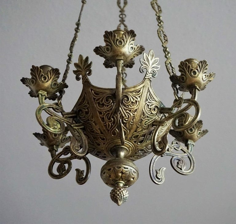 Brass Gothic Revival Bronze Church Sanctuary Lamp Candle Chandelier Spain 18th Century For Sale