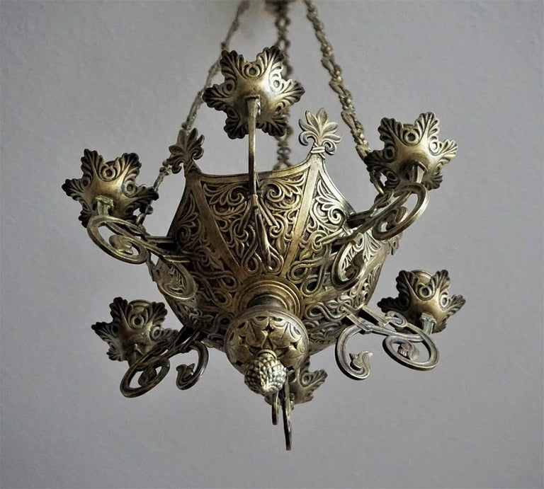 Gothic Revival Bronze Church Sanctuary Lamp Candle Chandelier Spain 18th Century For Sale 1