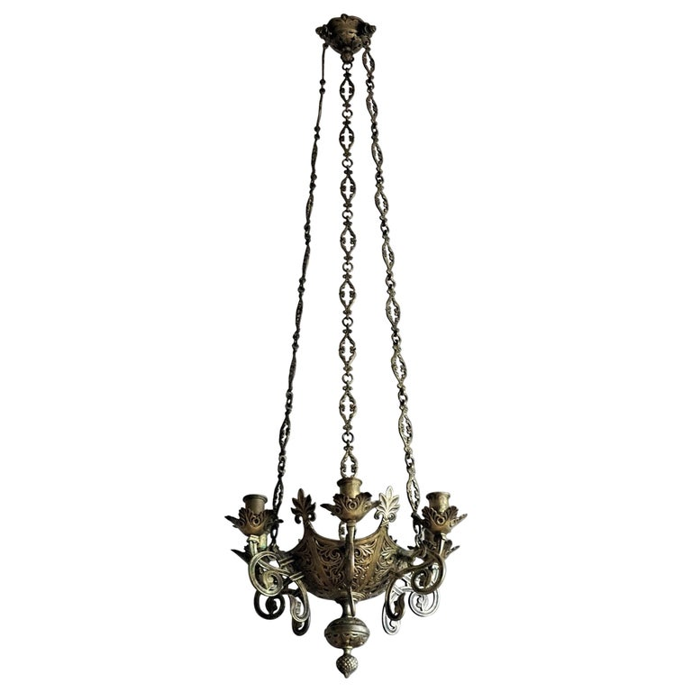 Gothic Revival Bronze Church Sanctuary Lamp Candle Chandelier Spain 18th Century For Sale
