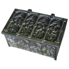 Gothic Revival Bronze Jewelry Box with Biblical Scenes in Church Window Panels