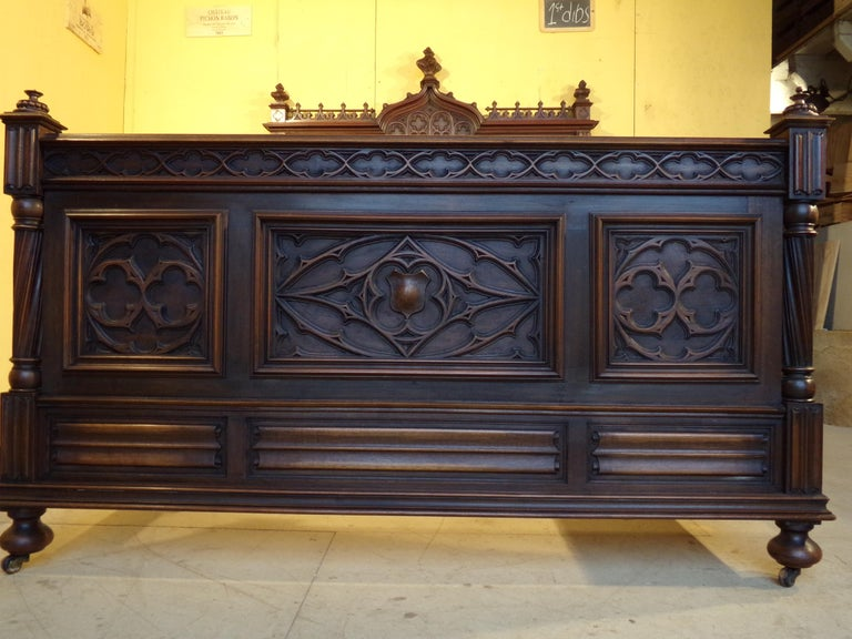 Gothic Revival Carved Armoire / Wardrobe, circa 1890 For Sale 4