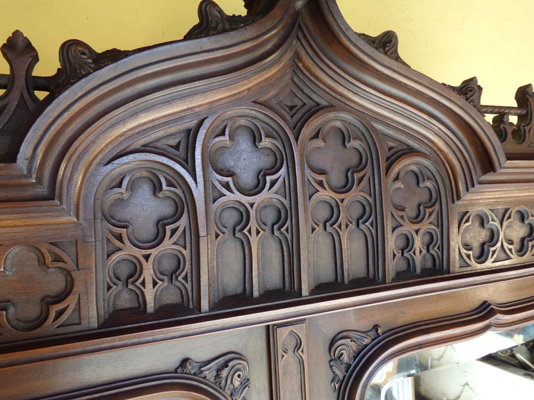 French Gothic Revival Carved Armoire / Wardrobe, circa 1890 For Sale