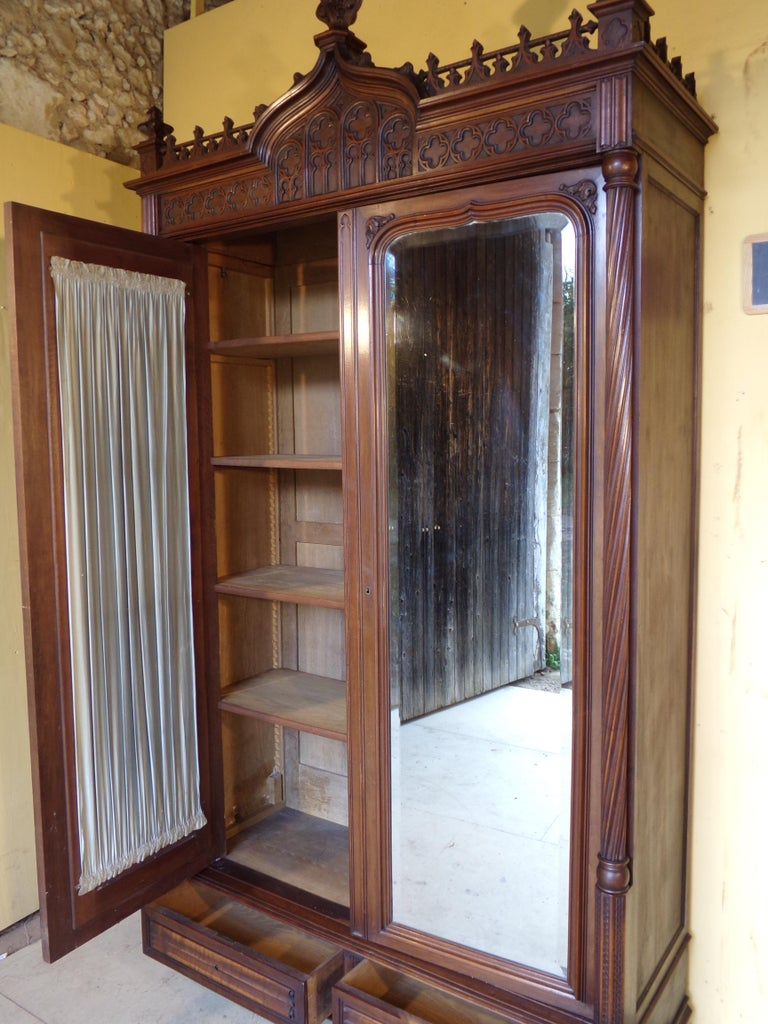 Gothic Revival Carved Armoire / Wardrobe, circa 1890 For Sale 1
