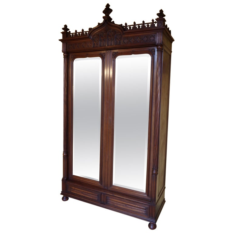 Gothic Revival Carved Armoire / Wardrobe, circa 1890 For Sale