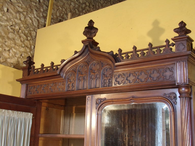 Gothic Revival Carved Double Bed, circa 1890 For Sale 6